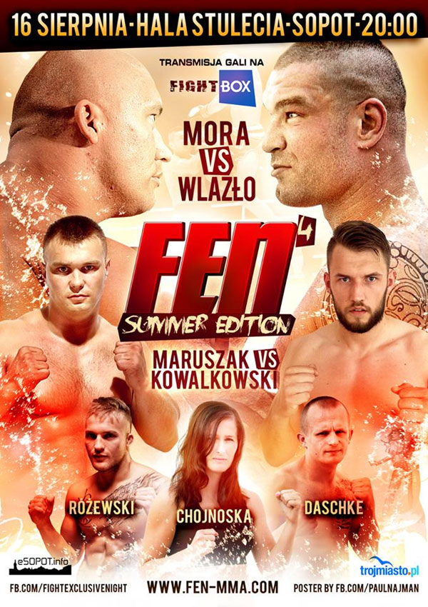 "Oficjalny plakat Fight Exclusive Night 4: ""Summer Edition"". Michał Wlazło rywalem Dawida Mory"