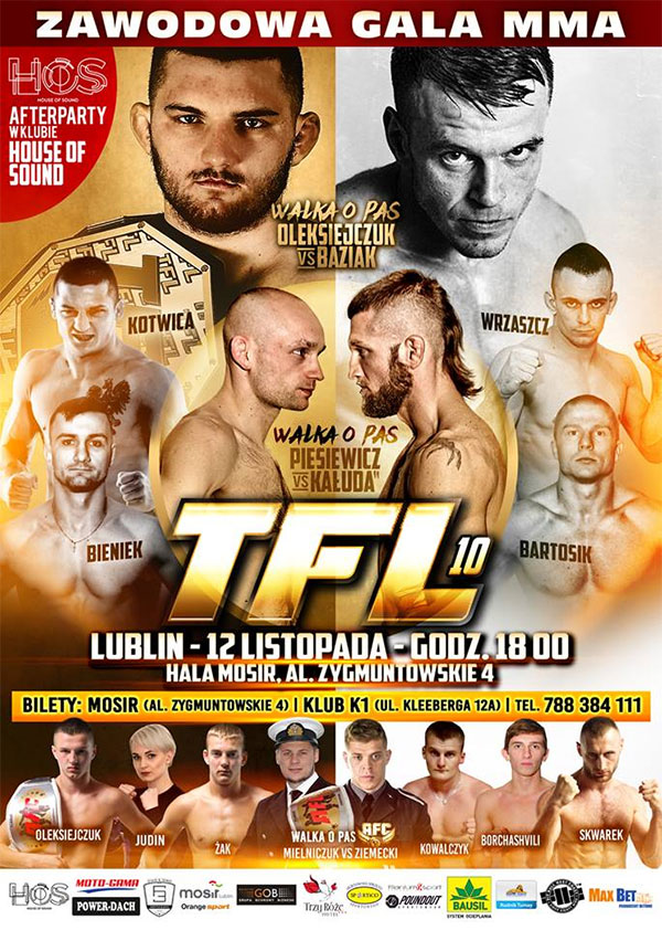 "Oficjalny plakat Thunderstrike Fight League 10: ""Oleksiejczuk vs. Baziak"""
