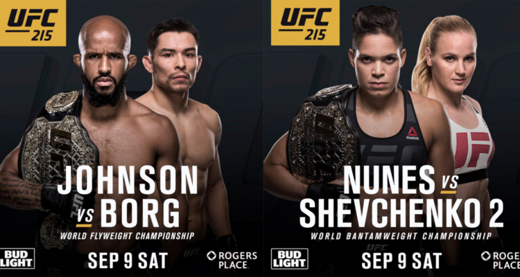 Demetrious Johnson vs Ray Borg i Amanda Nunes vs Valentina Shevchenko 2 na UFC 215