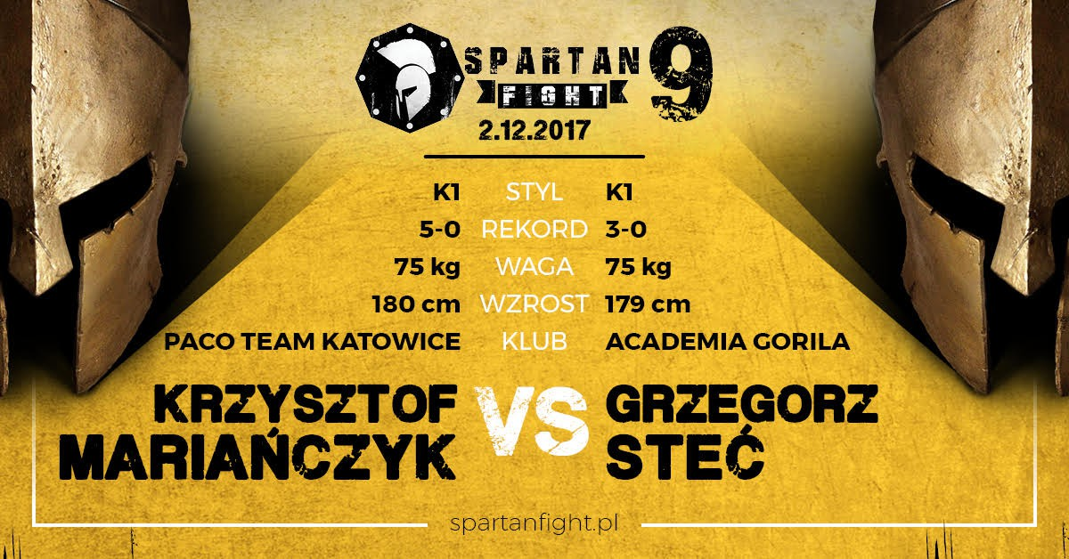 Chmiel vs Stanek i Mariańczyk vs Steć dodane do karty Spartan Fight 9